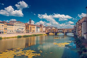 Ponte Vecchio bridge in Florence, Italy, at summer, toned image