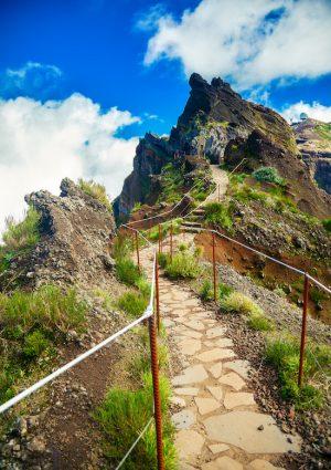 hiking trail from mountain Pico do Arieiro to Pico Ruivo, Madeira, Portugal