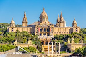 National museum of barcelona and placa de espanya in sunny day,Spain